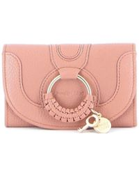 See By Chloé Hana Hammered Leather Wallet - Pink