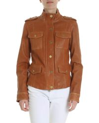 Michael Kors - Brown Lambskin Jacket - Lyst