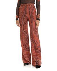 Etro Printed Wool And Silk Pants - Orange