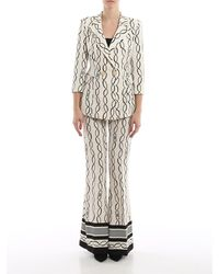 Elisabetta Franchi Chain Printed Crepe Suit - Natural