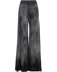 Avant Toi Embellished Palazzo Trousers - Grey