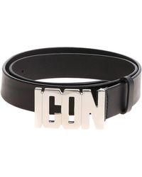 DSquared² - Icon Black Leather Belt - Lyst