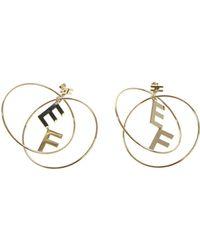 Elisabetta Franchi - Golden Metal Hoop Earrings - Lyst