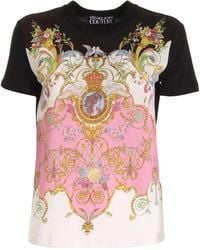 Versace Jeans Couture T-Shirt Stampa Versailles Nera - Nero