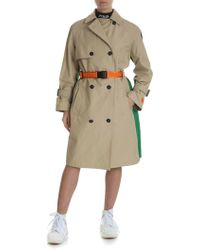Heron Preston Beige Cotton Trench Coat With Colorblocks - Natural