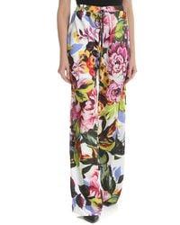 Blugirl Blumarine White Palazzo Trousers With Floral Print - Multicolour