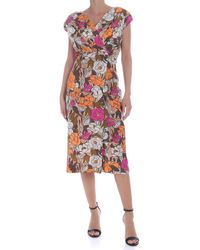 Ballantyne Floral Dress With Crossed Neckline - Multicolour