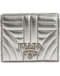 6be27dcceaee Lyst - Prada Silver Saffiano Trifold Wallet in Metallic