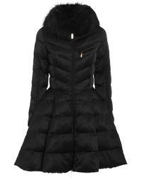Elisabetta Franchi Faux Fur Detailed Circle Puffer Jacket - Black