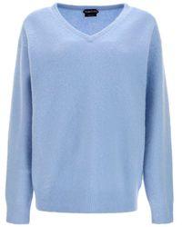 Tom Ford Pullover Scollo A V Azzurro - Blu