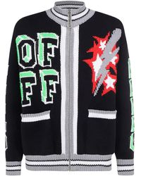 Off-White c/o Virgil Abloh Embroidered Zipped Cardigan - Black