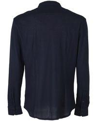 Paolo Pecora Mandarin Collar Cotton Shirt - Blue