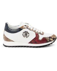 Roberto Cavalli Sneakers Con Stampa Pitonata - Bianco