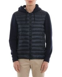 Herno Front Quilted Hoodie - Blue