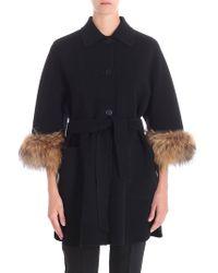 Weekend by Maxmara - Black King Coat With Fur Insert - Lyst