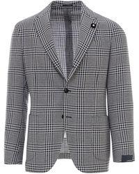 Lardini Houndstooth Wool-linen Blend Blazer - Blue
