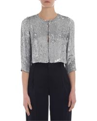P.A.R.O.S.H. - Cropped Jacket In Silver Sequins - Lyst