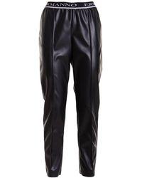 Ermanno Scervino Faux Leather Wide Leg Trousers - Black