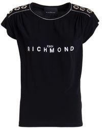 John Richmond T-Shirt Nera Con Occhielli - Nero