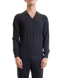 Corneliani Grey V Neck Cashmere Sweater
