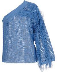 Genny One-shoulder Pullover With Fringes - Blue