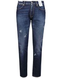 PT Torino Faded Stretch Denim Jeans - Blue