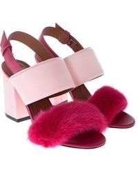 Givenchy - Pink Paris Sandals With Fur Insert - Lyst