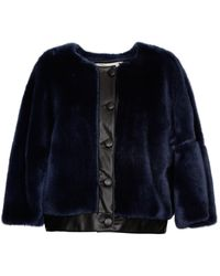 L'Autre Chose Cropped Faux Fur Coat - Blue