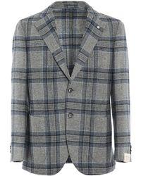 L.B.M. 1911 Tartan Patterned Blazer - Grey