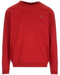 Vivienne Westwood Felpa Rossa Con Ricamo Logo - Rosso