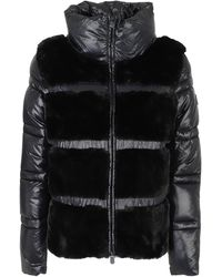 Save The Duck Funnel Neck Puffer Jacket With Faux Fur - Black