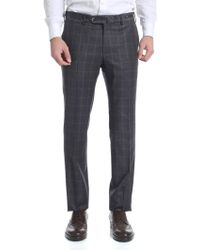 PT01 Charcoal Grey Check Trousers - Gray