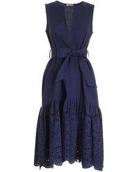 P.A.R.O.S.H. Broderie Anglaise Flounced Dress - Blue