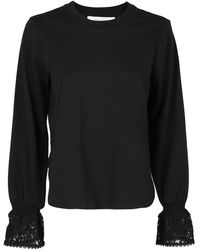 See By Chloé Long Lace Sleeves Cotton T-shirt - Black
