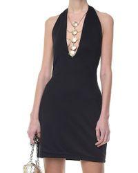Balmain - Black Jersey Dress With Golden Inserts - Lyst