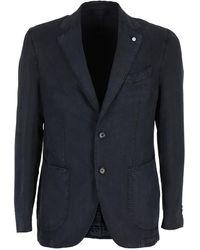 L.B.M. 1911 Single-breasted Cotton-lyocell Blazer - Blue