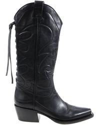 HTC - Black Texan Boots With Embroidery - Lyst