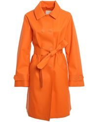 Add Faux Leather Trench Coat - Orange