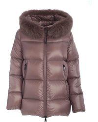 Moncler Dove Serifur Down Jacket Featuring Fox Hood - Grey