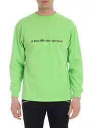 MSGM Neon Green Sweatshirt With Print
