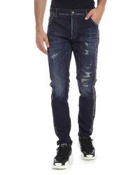 Balmain Jeans blu navy con bande logo