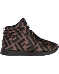Fendi Logo High-top Sneakers - Brown
