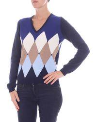 Ballantyne Blue Cashmere V-neck Pullover