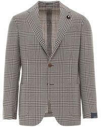Lardini Houndstooth Wool-linen Blend Blazer - Natural