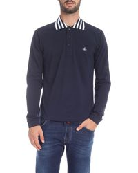 Vivienne Westwood Striped Collar Polo Shirt - Blue