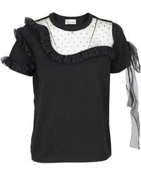 RED Valentino Cotton T-shirt With Tulle Details - Black