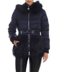 Elisabetta Franchi Blue Down Jacket With Eco-fur Details