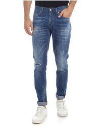 Dondup Jeans Ritchie blu effetto destroyed