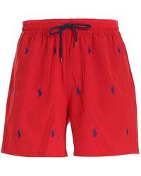 Polo Ralph Lauren All-over Logo Swim Short - Red