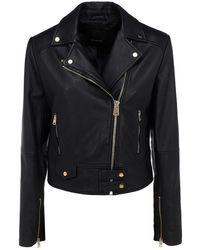 Pinko Sensibile 7 Leather Biker Jacket - Black